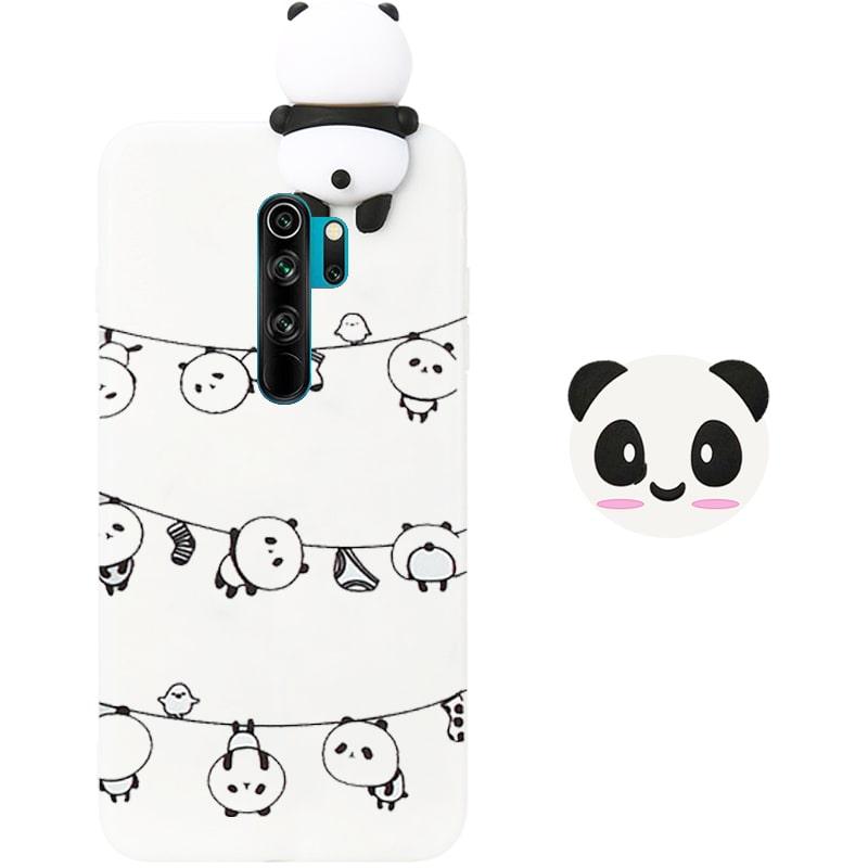 قاب فانتزی عروسکی پاندا رختی Panda Case مناسب برای گوشی Xiaomi Redmi 9 مدل نیمه شفاف سه بعدی همراه با پاپ سوکت سیلیکونی ست