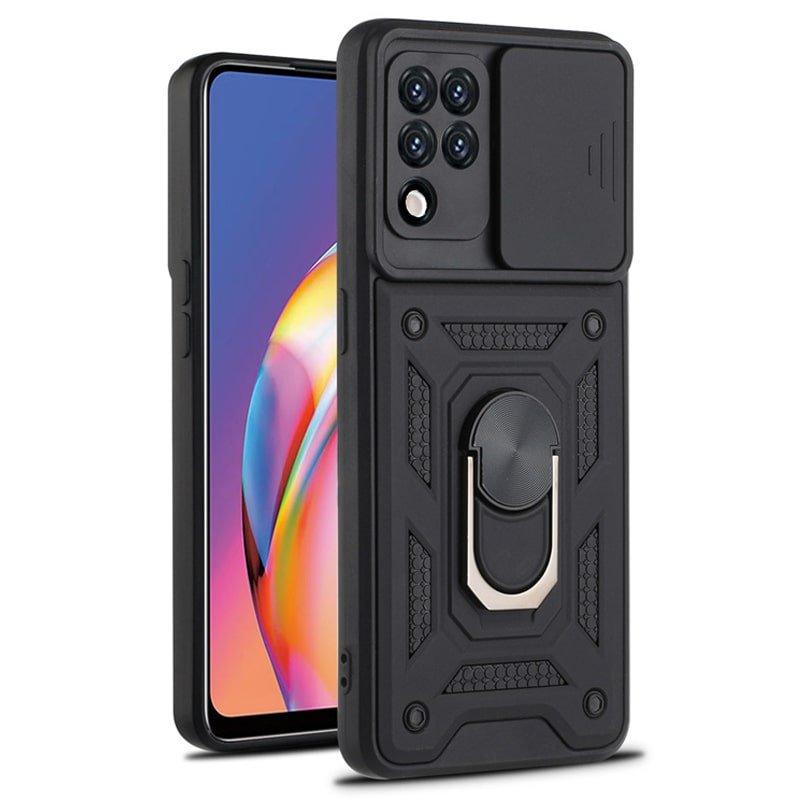 قاب اورجینال اسلاید آرمور مناسب برای گوشی Samsung Galaxy M62 / F62 طرح محافظ لنزدار کشویی مجهز به رینگ استندشو و مگنتی