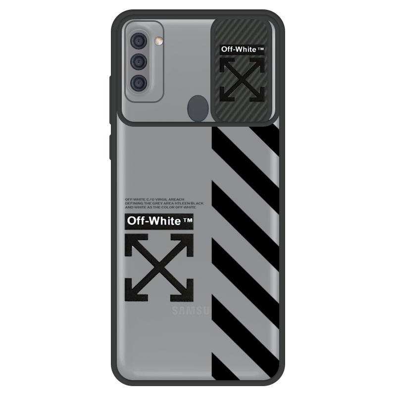 قاب طرحدار پسرانه مناسب برای گوشی Samsung Galaxy A11 مدل ماکرو شیلد محافظ لنزدار سبک بوتیک مدل آف وایت OFF WHITE