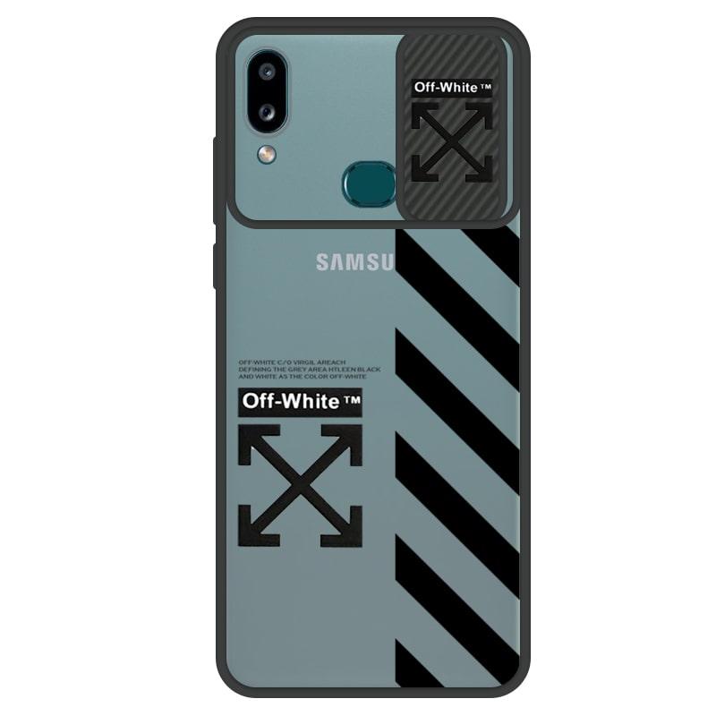 قاب طرحدار پسرانه مناسب برای گوشی Samsung Galaxy A10S مدل ماکرو شیلد محافظ لنزدار سبک بوتیک مدل آف وایت OFF WHITE