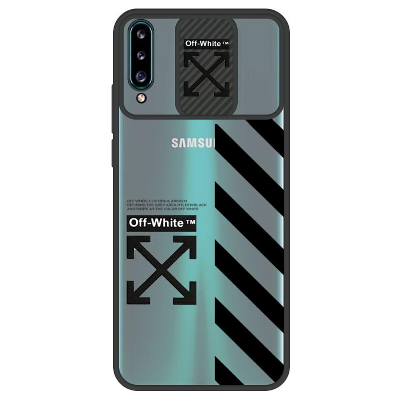 قاب طرحدار پسرانه مناسب برای گوشی Samsung Galaxy A20S مدل ماکرو شیلد محافظ لنزدار سبک بوتیک مدل آف وایت OFF WHITE