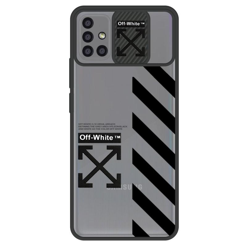 قاب طرحدار پسرانه مناسب برای گوشی Samsung Galaxy A51 مدل ماکرو شیلد محافظ لنزدار سبک بوتیک مدل آف وایت OFF WHITE