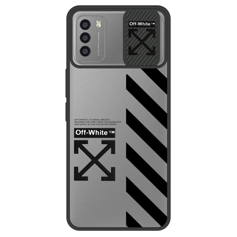 قاب طرحدار پسرانه مناسب برای گوشی Xiaomi POCO M3 / Redmi 9T مدل ماکرو شیلد محافظ لنزدار سبک بوتیک مدل آف وایت OFF WHITE