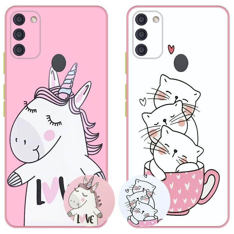 کاور عروسکی دکمه رنگی دخترانه مناسب برای گوشی Samsung Galaxy A11 مدل محافظ لنزدار به همراه پاپ سوکت طرح کیتی و اسب تک شاخ Unicorn And Kitty Case