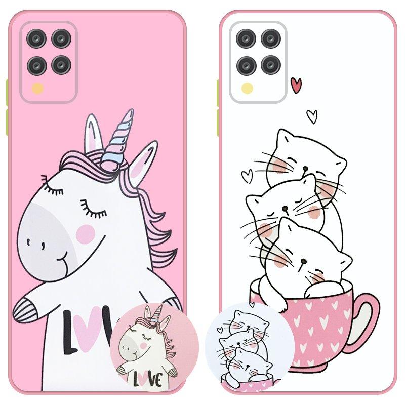 کاور عروسکی دکمه رنگی دخترانه مناسب برای گوشی Samsung Galaxy A42 مدل محافظ لنزدار به همراه پاپ سوکت طرح کیتی و اسب تک شاخ Unicorn And Kitty Case