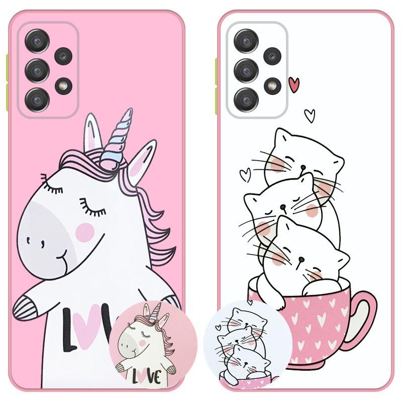 کاور عروسکی دکمه رنگی دخترانه مناسب برای گوشی Samsung Galaxy A72 5G / 4G مدل محافظ لنزدار به همراه پاپ سوکت طرح کیتی و اسب تک شاخ Unicorn And Kitty Case
