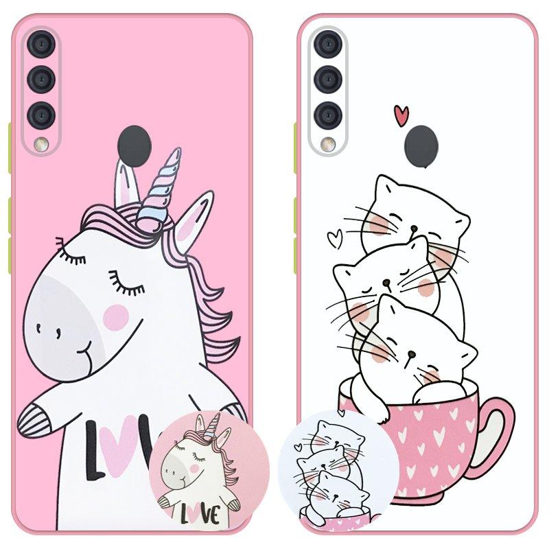 کاور عروسکی دکمه رنگی دخترانه مناسب برای گوشی Samsung Galaxy A20S مدل محافظ لنزدار به همراه پاپ سوکت طرح کیتی و اسب تک شاخ Unicorn And Kitty Case