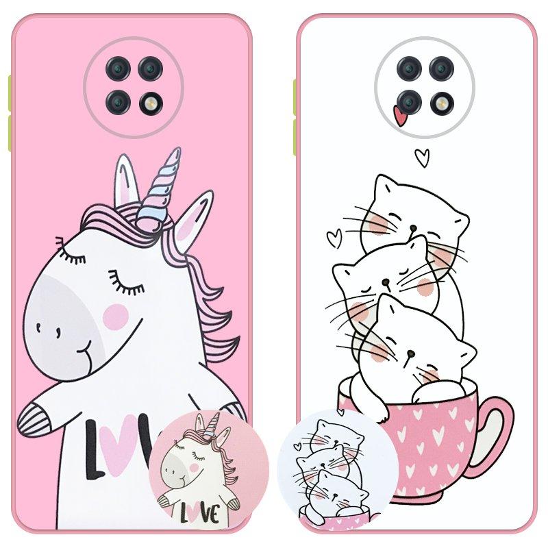 کاور عروسکی دکمه رنگی دخترانه مناسب برای گوشی Xiaomi Redmi Note 9T 5G مدل محافظ لنزدار به همراه پاپ سوکت طرح کیتی و اسب تک شاخ Unicorn And Kitty Case