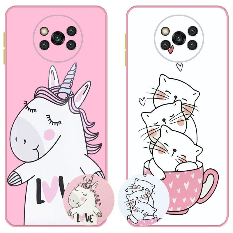 کاور عروسکی دکمه رنگی دخترانه مناسب برای گوشی Xiaomi POCO X3 nfc / pro مدل محافظ لنزدار به همراه پاپ سوکت طرح کیتی و اسب تک شاخ Unicorn And Kitty Case