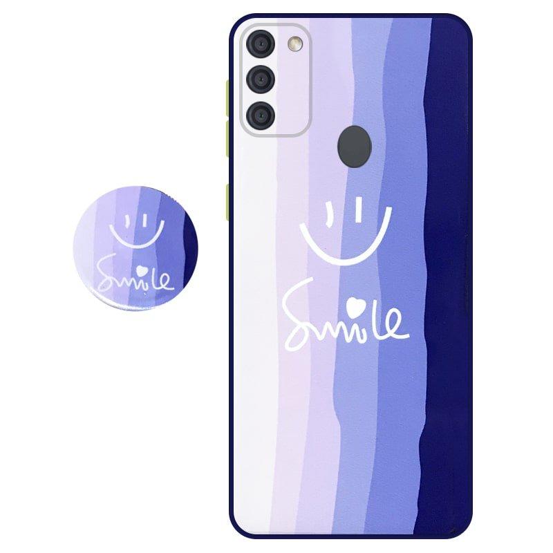 کاور سه بعدی رینبو تم آبی Rainbow Blue Theme مناسب برای گوشی Samsung Galaxy A11 مدل دکمه رنگی محافظ لنزدار به همراه پاپ سوکت طرح رنگین کمانی زنانه و مردانه