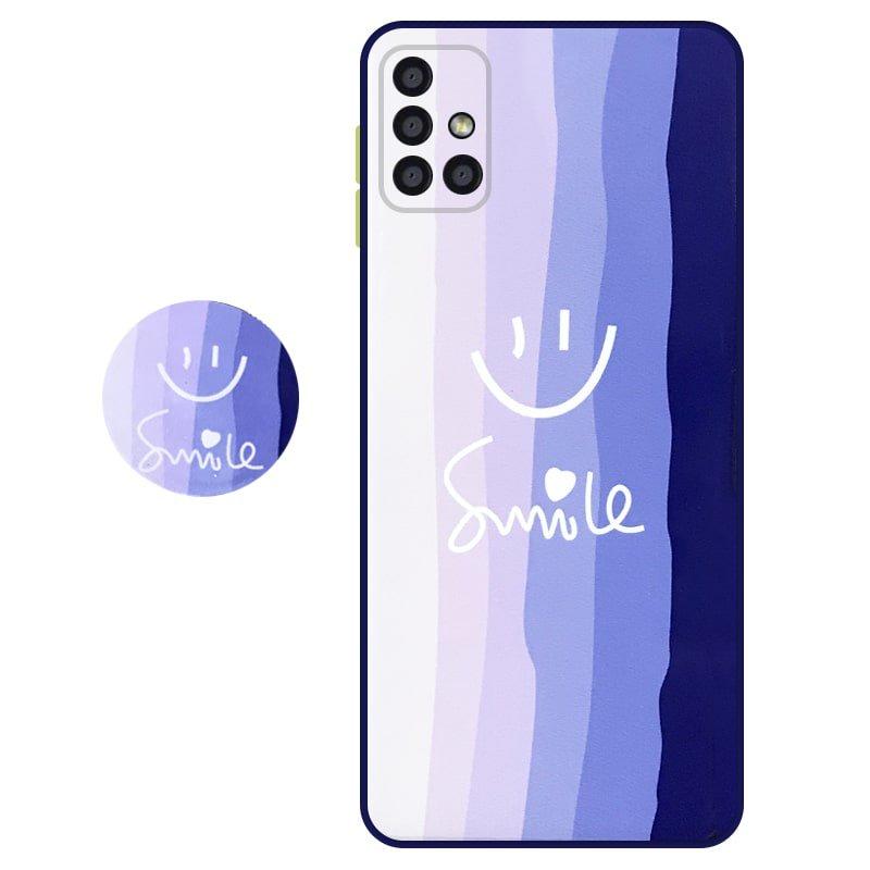 کاور سه بعدی رینبو تم آبی Rainbow Blue Theme مناسب برای گوشی Samsung Galaxy A71 مدل دکمه رنگی محافظ لنزدار به همراه پاپ سوکت طرح رنگین کمانی زنانه و مردانه