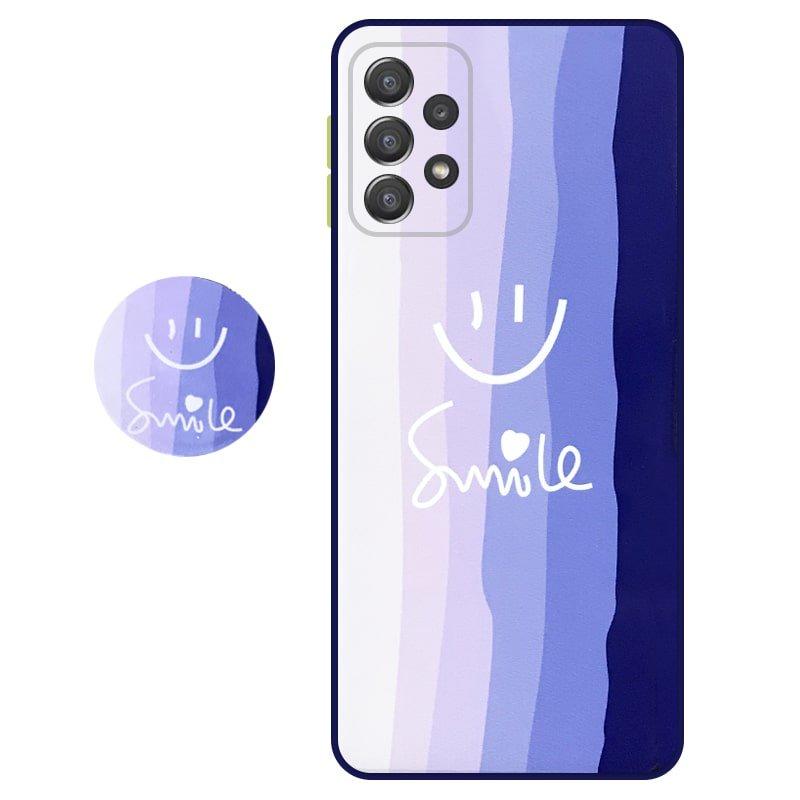 کاور سه بعدی رینبو تم آبی Rainbow Blue Theme مناسب برای گوشی Samsung Galaxy A52 5G / 4G مدل دکمه رنگی محافظ لنزدار به همراه پاپ سوکت طرح رنگین کمانی زنانه و مردانه