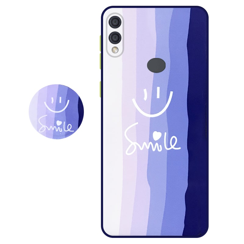 کاور سه بعدی رینبو تم آبی Rainbow Blue Theme مناسب برای گوشی Samsung Galaxy A10S مدل دکمه رنگی محافظ لنزدار به همراه پاپ سوکت طرح رنگین کمانی زنانه و مردانه
