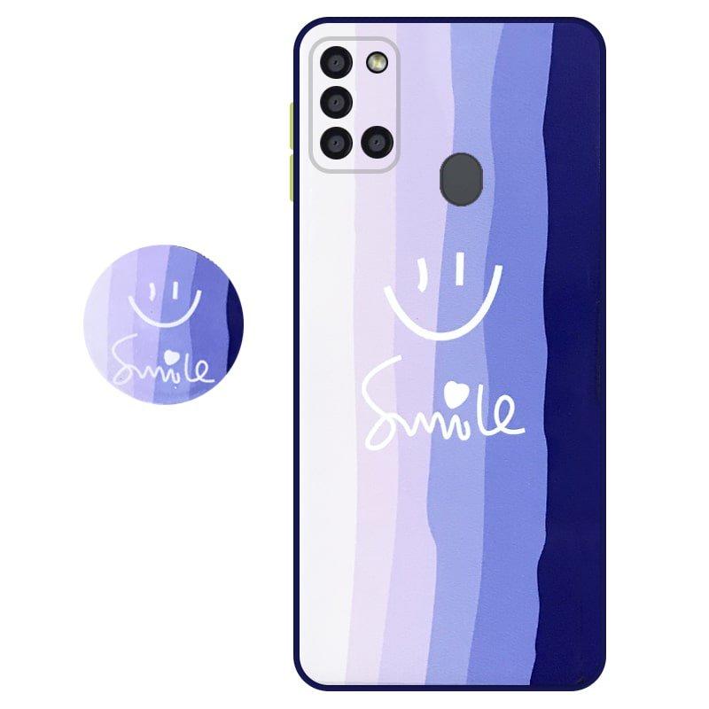 کاور سه بعدی رینبو تم آبی Rainbow Blue Theme مناسب برای گوشی Samsung Galaxy A21S مدل دکمه رنگی محافظ لنزدار به همراه پاپ سوکت طرح رنگین کمانی زنانه و مردانه