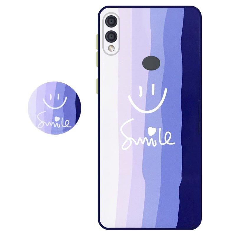 کاور سه بعدی رینبو تم آبی Rainbow Blue Theme مناسب برای گوشی Samsung Galaxy A20 / A30 مدل دکمه رنگی محافظ لنزدار به همراه پاپ سوکت طرح رنگین کمانی زنانه و مردانه