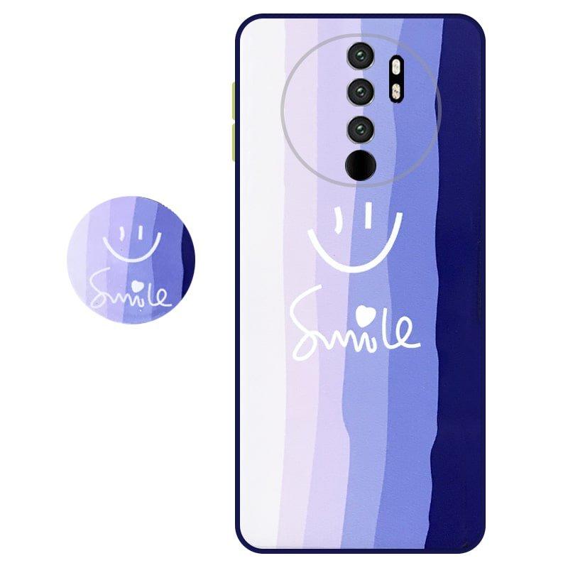 کاور سه بعدی رینبو تم آبی Rainbow Blue Theme مناسب برای گوشی Xiaomi Redmi Note 8 Pro مدل دکمه رنگی محافظ لنزدار به همراه پاپ سوکت طرح رنگین کمانی زنانه و مردانه