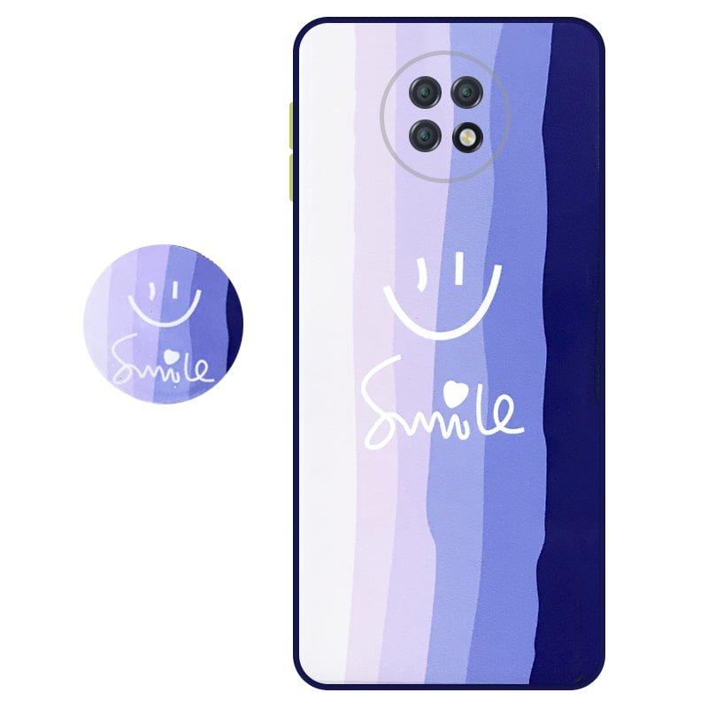 کاور سه بعدی رینبو تم آبی Rainbow Blue Theme مناسب برای گوشی Xiaomi Redmi Note 9T 5G مدل دکمه رنگی محافظ لنزدار به همراه پاپ سوکت طرح رنگین کمانی زنانه و مردانه