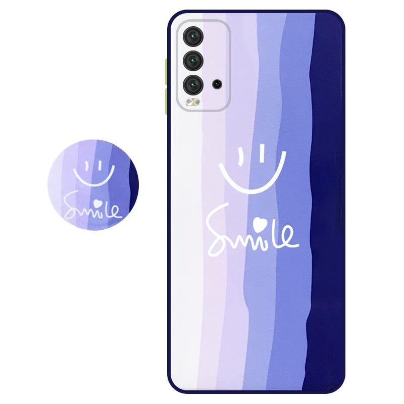 کاور سه بعدی رینبو تم آبی Rainbow Blue Theme مناسب برای گوشی Xiaomi Redmi 9T مدل دکمه رنگی محافظ لنزدار به همراه پاپ سوکت طرح رنگین کمانی زنانه و مردانه