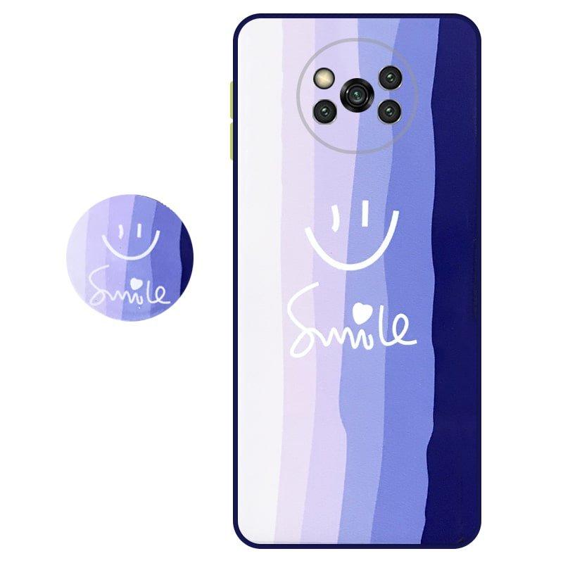 کاور سه بعدی رینبو تم آبی Rainbow Blue Theme مناسب برای گوشی Xiaomi POCO X3 nfc / pro مدل دکمه رنگی محافظ لنزدار به همراه پاپ سوکت طرح رنگین کمانی زنانه و مردانه