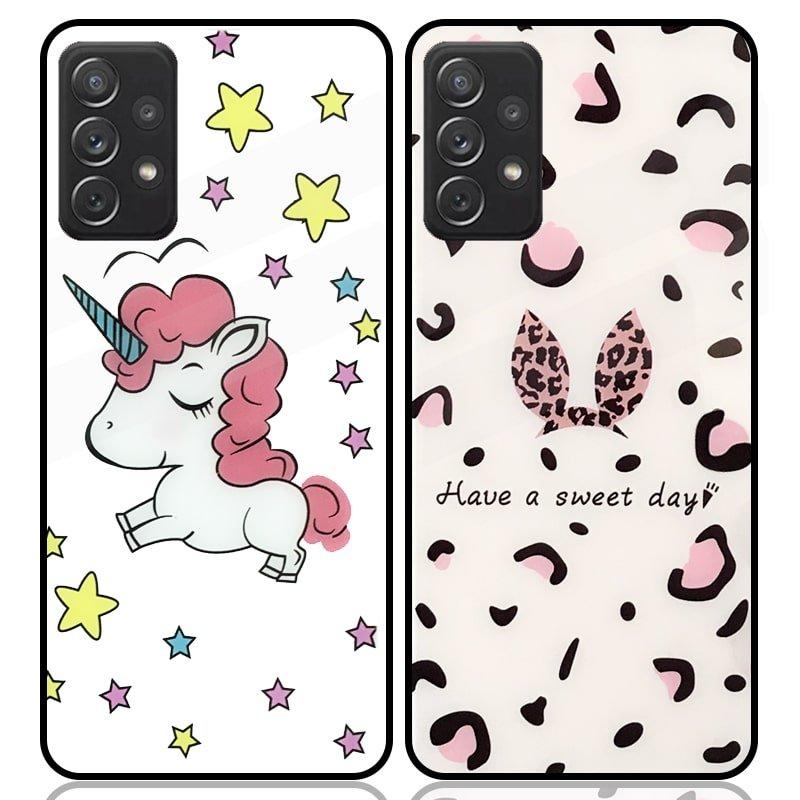 قاب پشت گلس فانتزی مناسب برای گوشی Samsung Galaxy A72 5G / 4G مدل عروسکی دخترانه و لاکچری زنانه طرح یونیکورن و پلنگی کالباسی Unicorn And Sweet Glass Case