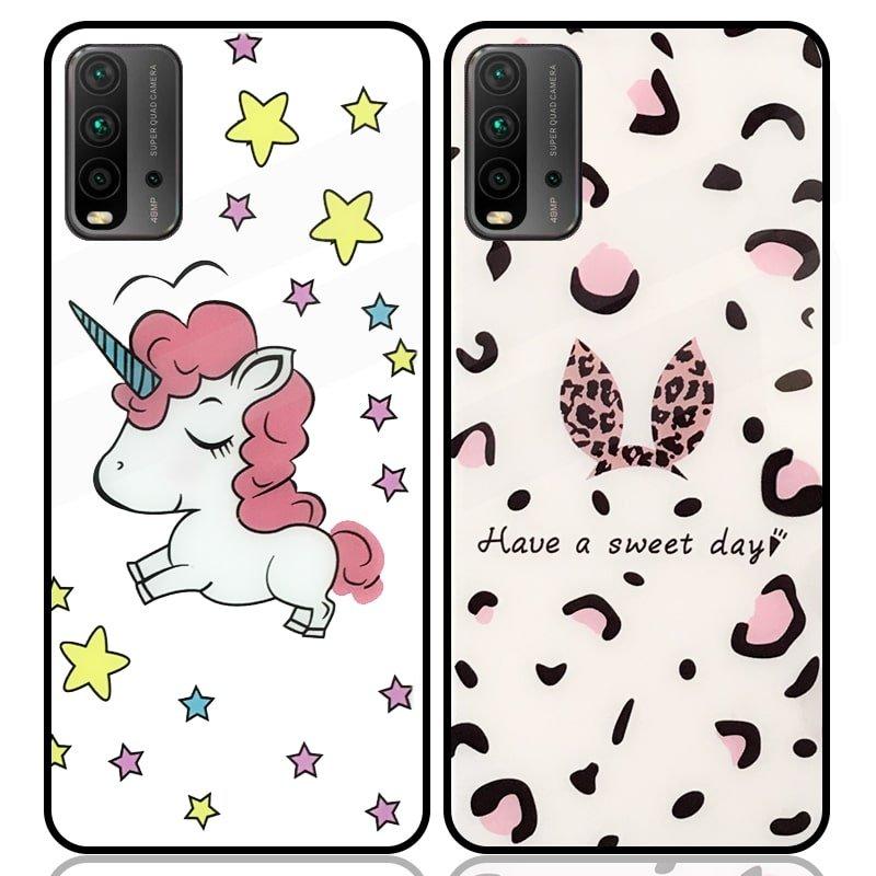 قاب پشت گلس فانتزی مناسب برای گوشی Xiaomi Redmi 9T مدل عروسکی دخترانه و لاکچری زنانه طرح یونیکورن و پلنگی کالباسی Unicorn And Sweet Glass Case