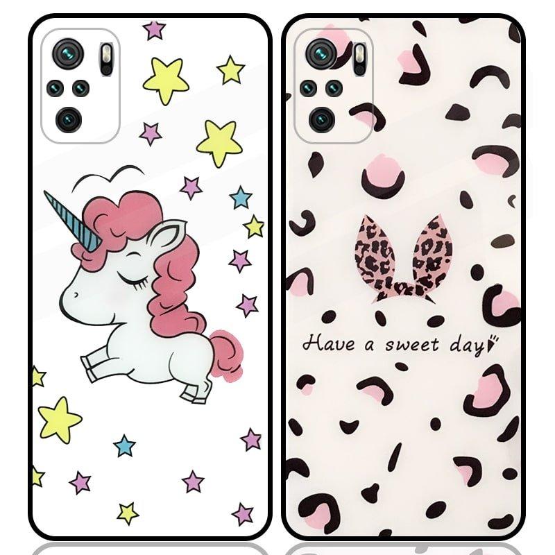 قاب پشت گلس فانتزی مناسب برای گوشی Xiaomi Redmi Note 10 4G / 10S مدل عروسکی دخترانه و لاکچری زنانه طرح یونیکورن و پلنگی کالباسی Unicorn And Sweet Glass Case (محافظ لنزدار)