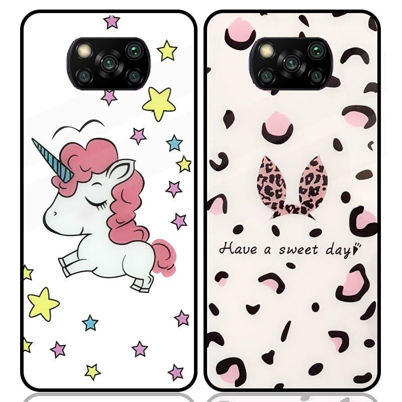 قاب پشت گلس فانتزی مناسب برای گوشی Xiaomi POCO X3 nfc / pro مدل عروسکی دخترانه و لاکچری زنانه طرح یونیکورن و پلنگی کالباسی Unicorn And Sweet Glass Case