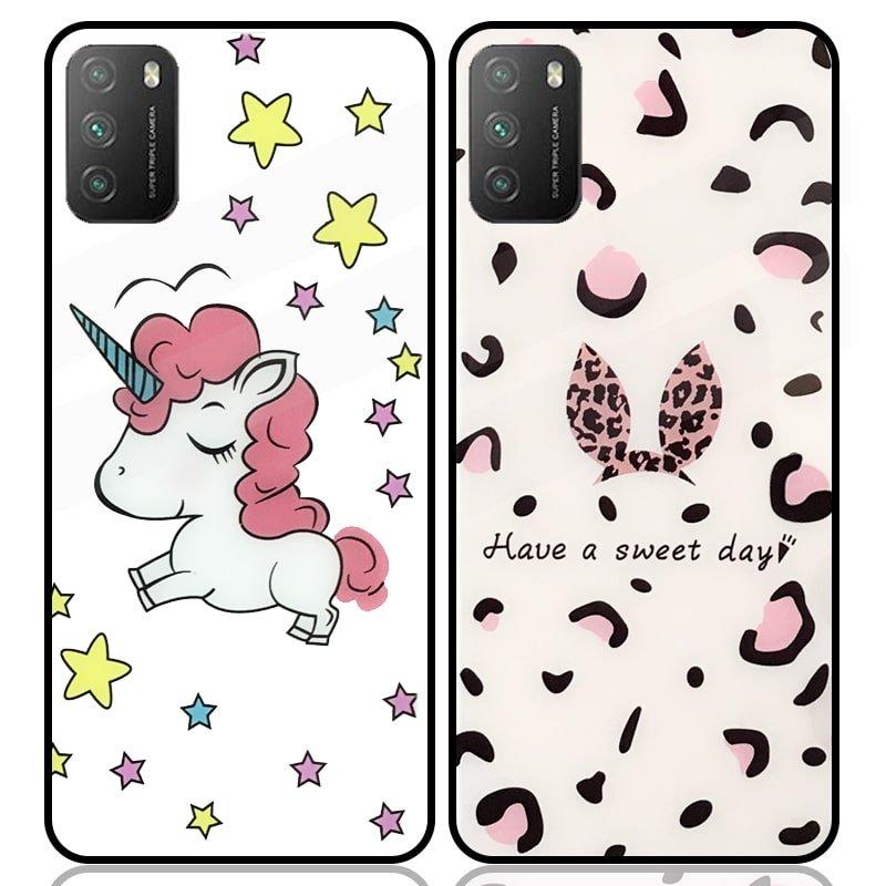 قاب پشت گلس فانتزی مناسب برای گوشی Xiaomi POCO M3 / Pro مدل عروسکی دخترانه و لاکچری زنانه طرح یونیکورن و پلنگی کالباسی Unicorn And Sweet Glass Case