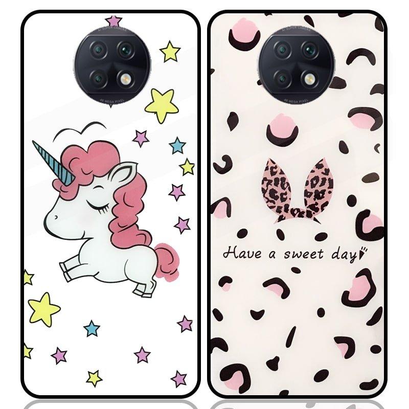 قاب پشت گلس فانتزی مناسب برای گوشی Xiaomi Redmi Note 10 4G / 10S مدل عروسکی دخترانه و لاکچری زنانه طرح یونیکورن و پلنگی کالباسی Unicorn And Sweet Glass Case