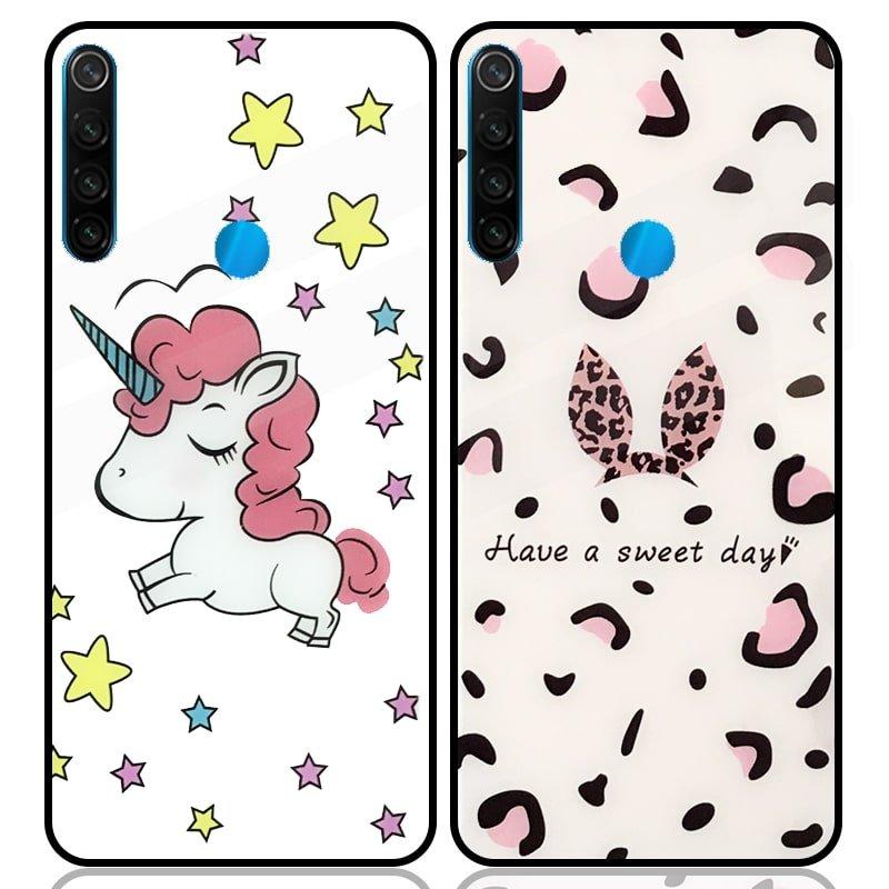 قاب پشت گلس فانتزی مناسب برای گوشی Xiaomi Redmi Note 8 مدل عروسکی دخترانه و لاکچری زنانه طرح یونیکورن و پلنگی کالباسی Unicorn And Sweet Glass Case