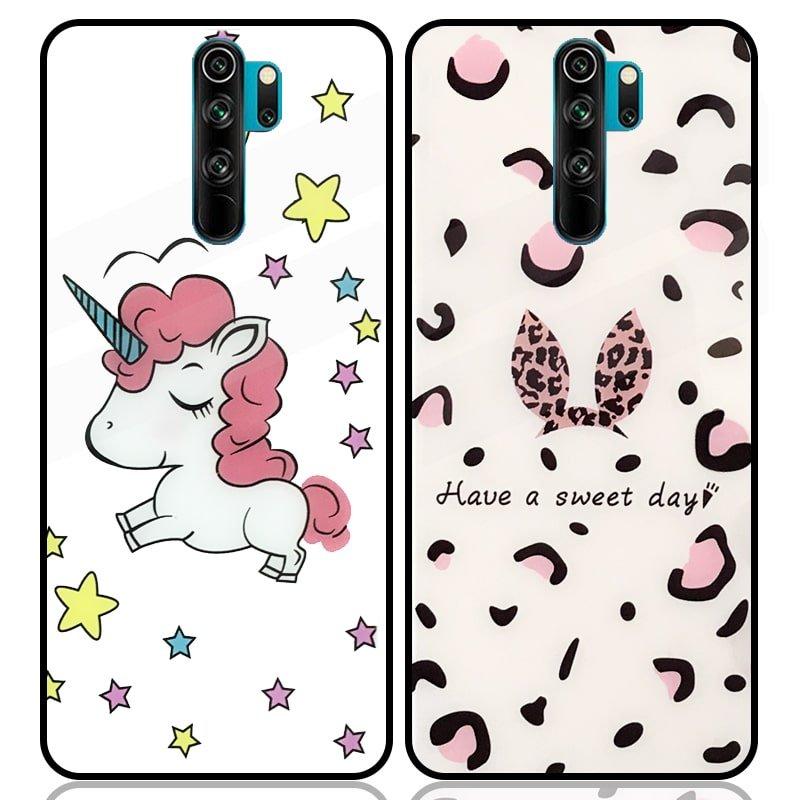 قاب پشت گلس فانتزی مناسب برای گوشی Xiaomi Redmi Note 8 Pro مدل عروسکی دخترانه و لاکچری زنانه طرح یونیکورن و پلنگی کالباسی Unicorn And Sweet Glass Case