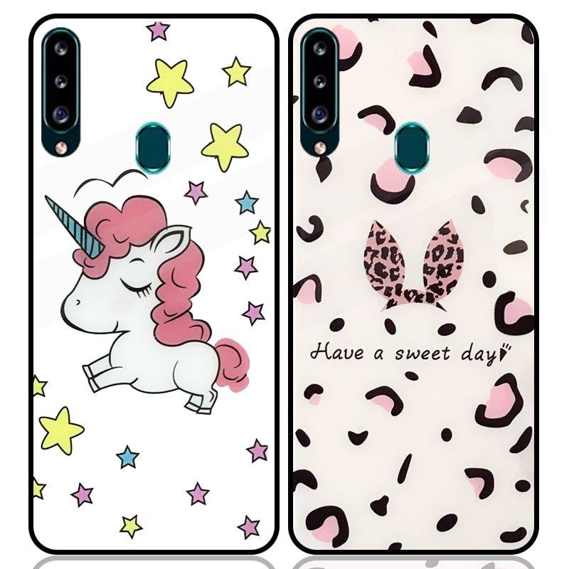 قاب پشت گلس فانتزی مناسب برای گوشی Samsung Galaxy A20S مدل عروسکی دخترانه و لاکچری زنانه طرح یونیکورن و پلنگی کالباسی Unicorn And Sweet Glass Case