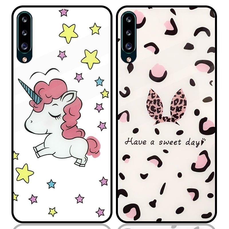 قاب پشت گلس فانتزی مناسب برای گوشی Samsung Galaxy A30S / A50S / A50 مدل عروسکی دخترانه و لاکچری زنانه طرح یونیکورن و پلنگی کالباسی Unicorn And Sweet Glass Case