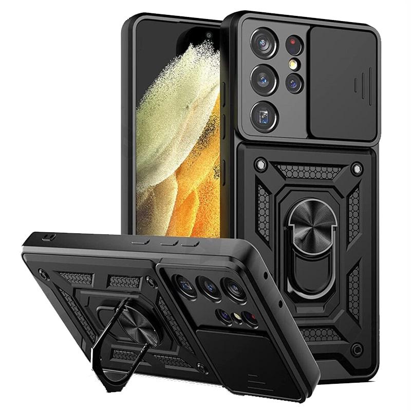 قاب اورجینال اسلاید آرمور مناسب برای گوشی Samsung Galaxy S21 Ultra طرح محافظ لنزدار کشویی مجهز به رینگ استندشو و مگنتی