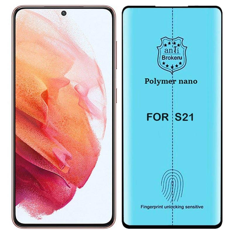برچسب PMMA محافظ صفحه نمایش اورجینال مناسب برای گوشی Samsung Galaxy S21 مدل پلیمر نانو از برند کینگ کونگ Anti Broken Polymer Nano King Kong