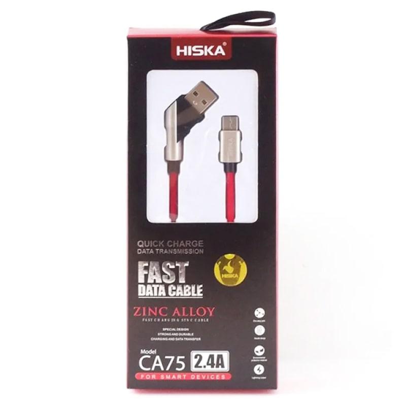 کابل فست شارژ و انتقال دیتا 2.4 آمپری HISKA Micro usb CA75 مدل روکش کنفی و سری فلزی به طول 1 متر