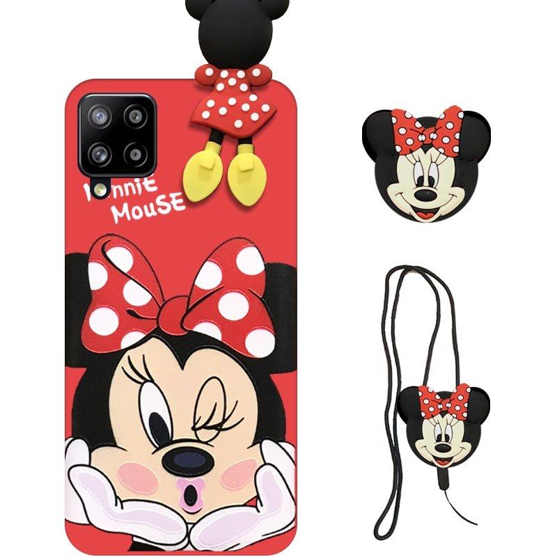 قاب عروسکی دخترانه مدل میکی موس مناسب برای گوشی Samsung Galaxy A12 به همراه ست پاپ سوکت و پام پام سیلیکونی ست (محافظ لنزدار) Disney Mickey Mouse Cute Case