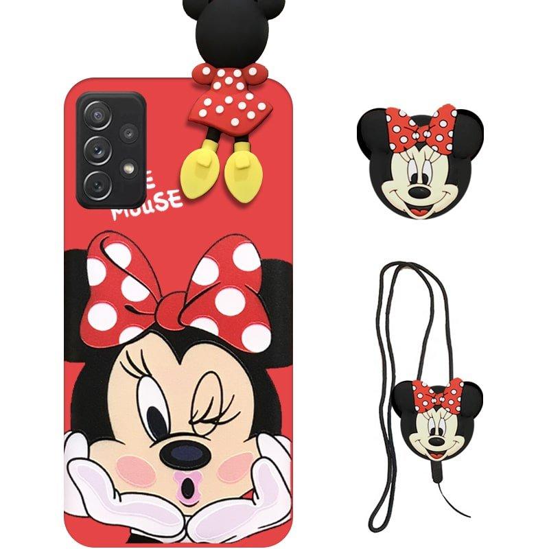 قاب عروسکی دخترانه مدل میکی موس مناسب برای گوشی Samsung Galaxy A72 4G/5G به همراه ست پاپ سوکت و پام پام سیلیکونی ست (محافظ لنزدار) Disney Mickey Mouse Cute Case