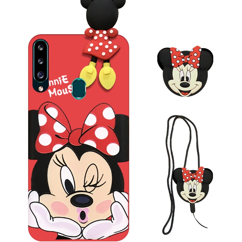 قاب عروسکی دخترانه مدل میکی موس مناسب برای گوشی Samsung Galaxy A20S به همراه ست پاپ سوکت و پام پام سیلیکونی ست Disney Mickey Mouse Cute Case