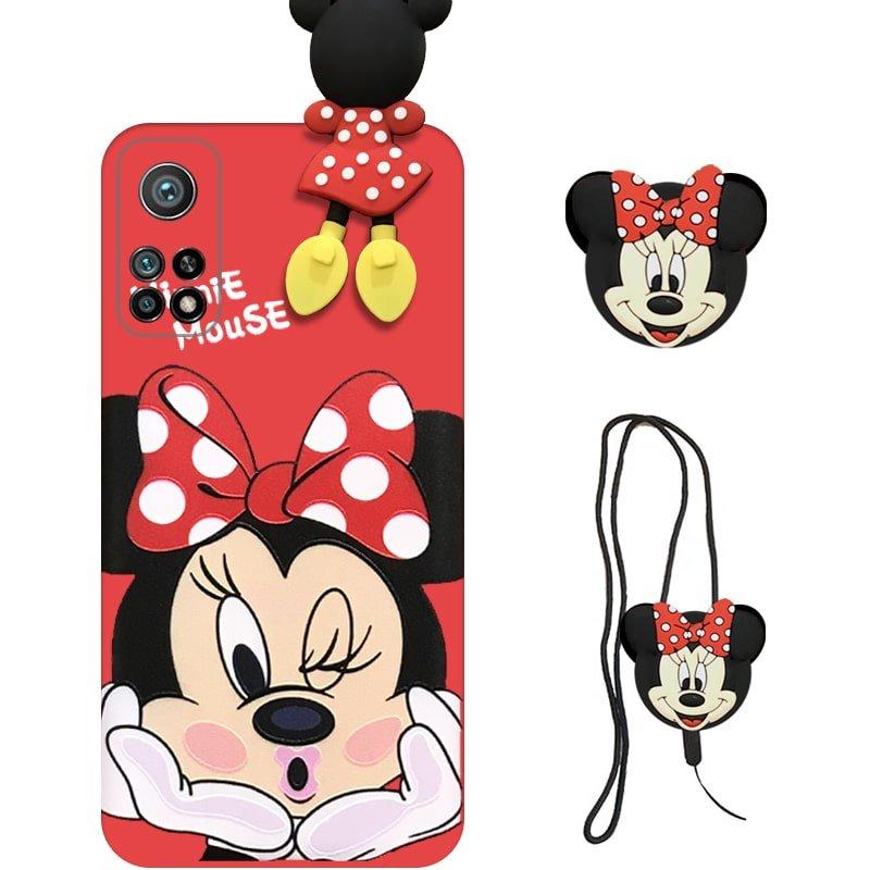 قاب عروسکی دخترانه مدل میکی موس مناسب برای گوشی Xiaomi MI 10T / 10T Pro به همراه ست پاپ سوکت و پام پام سیلیکونی ست (محافظ لنزدار) Disney Mickey Mouse Cute Case