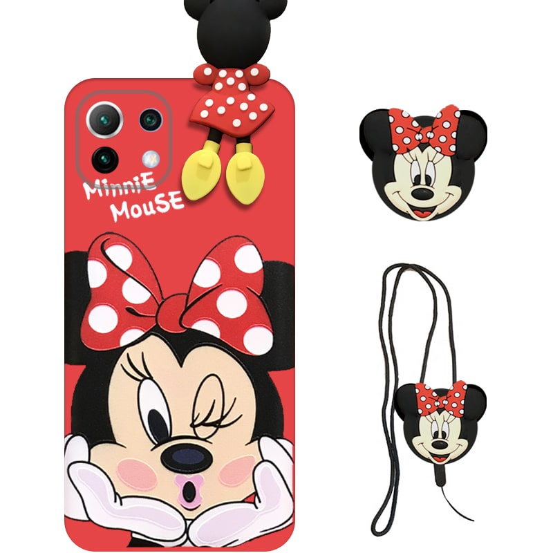 قاب عروسکی دخترانه مدل میکی موس مناسب برای گوشی Xiaomi MI 11 Lite به همراه ست پاپ سوکت و پام پام سیلیکونی ست (محافظ لنزدار) Disney Mickey Mouse Cute Case