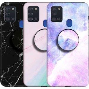 قاب ماربل مناسب برای گوشی Samsung Galaxy A21S مدل سنگی مات همراه با پاپ سوکت.jpg