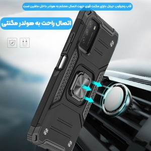 قاب اورجینال گوشی مناسب برای Xiaomi Poco M3 طرح آرمور به همراه رینگ استند مدل رنجر فون.jpg