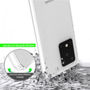 گارد محافظ ایربگ دار برای گوشی Samsung Galaxy S20 Ultra مدل دور ژله ای شفاف پشت طلق کریستالی.jpg