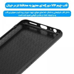 قاب چرم VIP دیزاین مناسب برای گوشی Xiaomi Redmi Note 9S مدل محافظ لنزدار طرح چرم کروکودیل (صنعتی)
