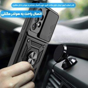 قاب اورجینال اسلاید آرمور مناسب برای گوشی Samsung Galaxy A72 5G / 4G طرح محافظ لنزدار کشویی مجهز به رینگ استندشو و مگنتی
