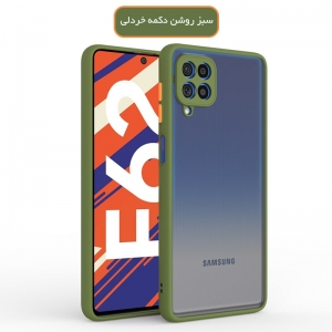 کاور و قاب گوشی مناسب برای Samsung Galaxy F62 / M62 هیبریدی دکمه رنگی مدل پشت مات محافظ لنزدار.jpg