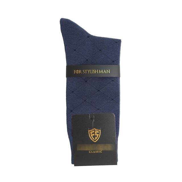 جوراب مردانه ساقدار آبی نفتی طرحدار