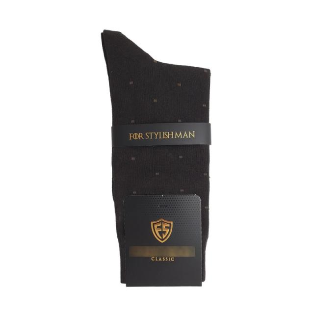 جوراب مردانه ساقدار قهوه ای طرحدار