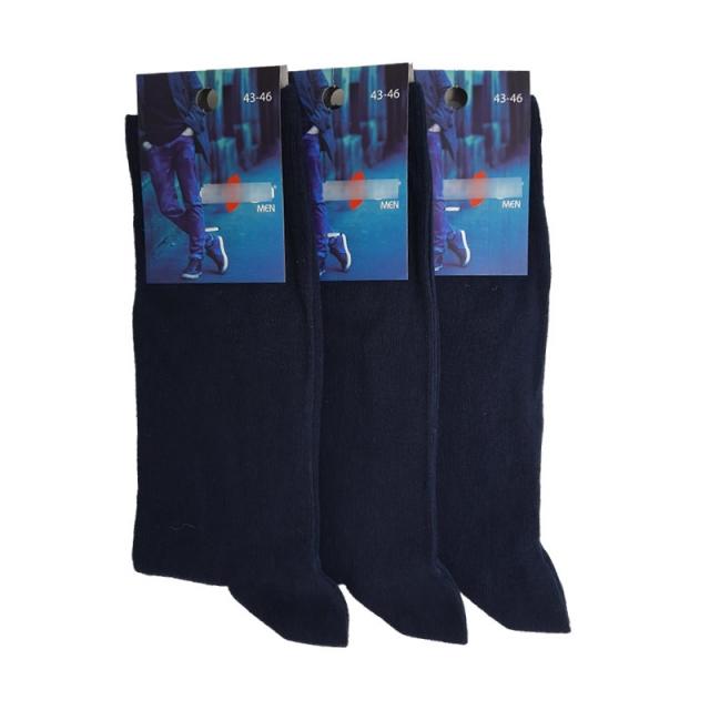 جوراب مردانه ترک نخ پنبه رنگ سرمه ای بسته 3عددی